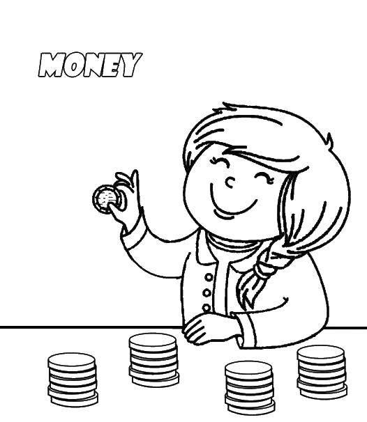 Раскраска Девушка считает деньги Скачать девушка, деньги.  Распечатать ,Деньги,