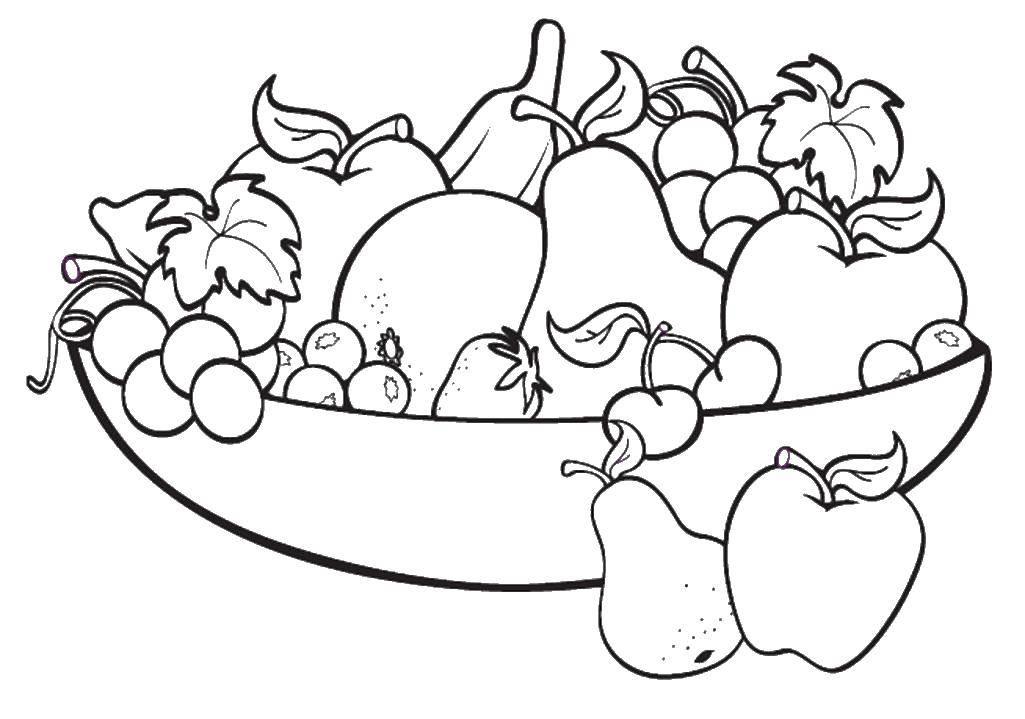 Раскраска фрукты на английском Скачать ,тарелка, фрукты,.  Распечатать