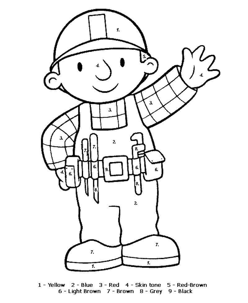 Раскраска Строитель Скачать раскрасить по номерам, строитель, мальчик.  Распечатать ,раскраски по номерам,
