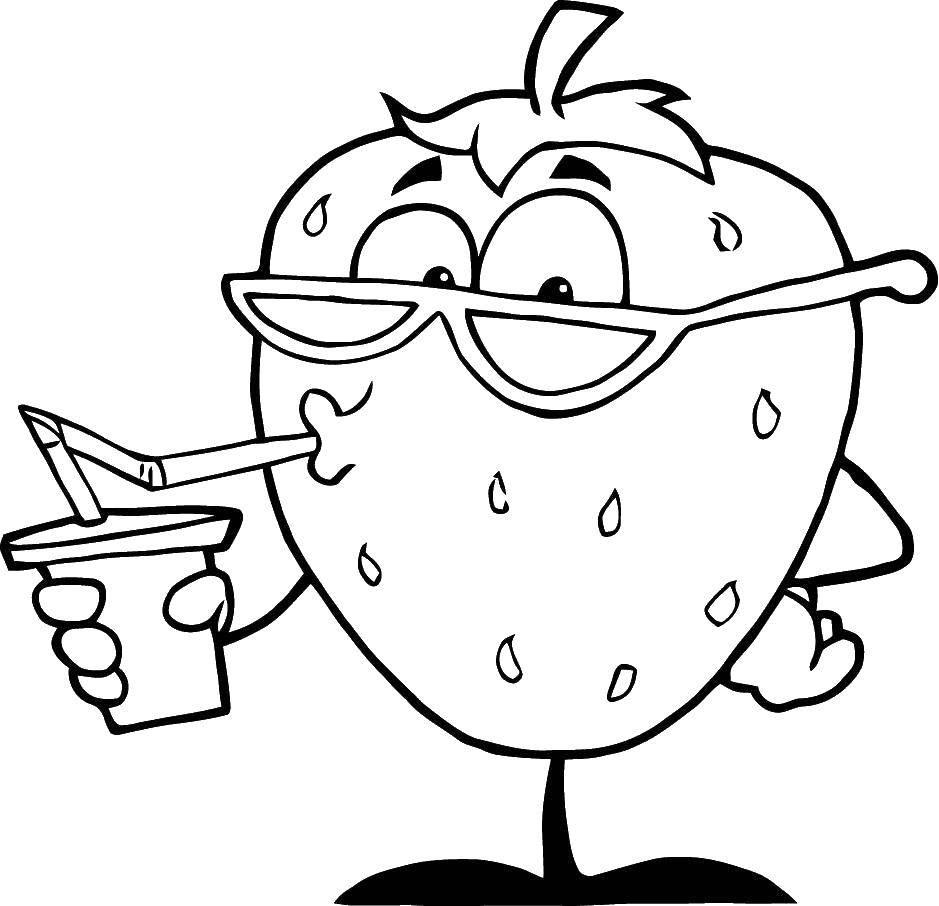 Раскраска Клубника и лимонад Скачать клубника, очки, сок.  Распечатать ,фрукты,