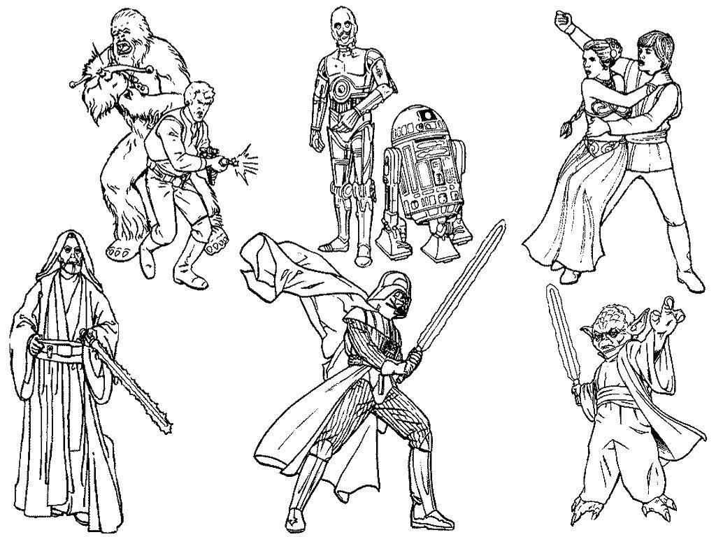Раскраска Разные герои звездных войн Скачать фильмы, Звездные войны, герои.  Распечатать ,фильм,