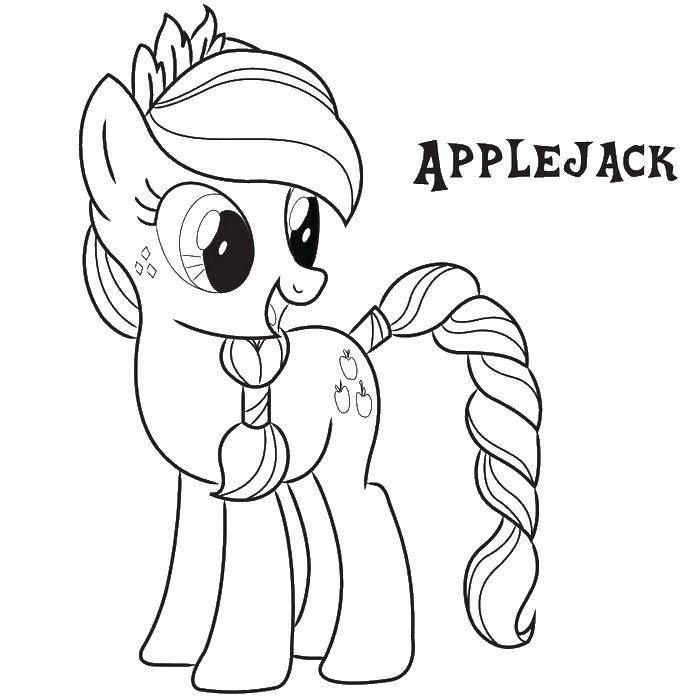Раскраска Эпл джек пони с новой прической Скачать эпл джек, пони.  Распечатать ,мой маленький пони,
