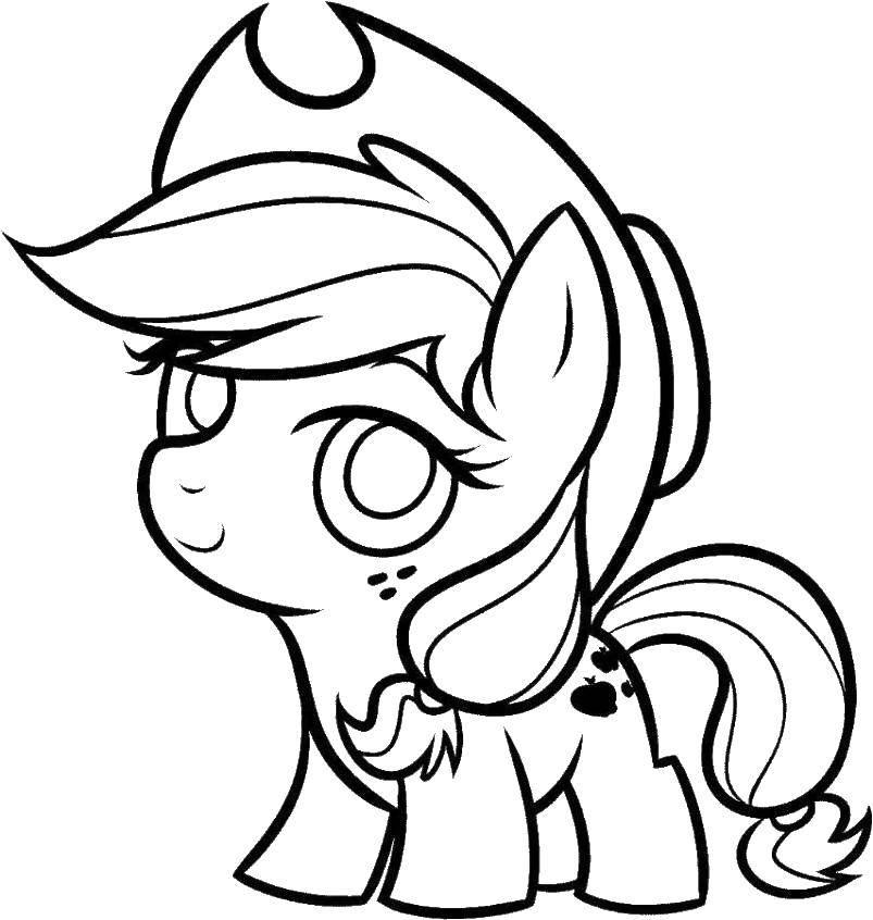 Раскраска Мини эпл джек Скачать эпл джек, пони.  Распечатать ,мой маленький пони,