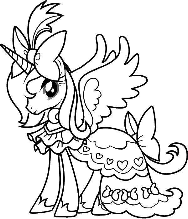 Раскраска Принцесса селестия в платье Скачать принцесса селестия.  Распечатать ,мой маленький пони,