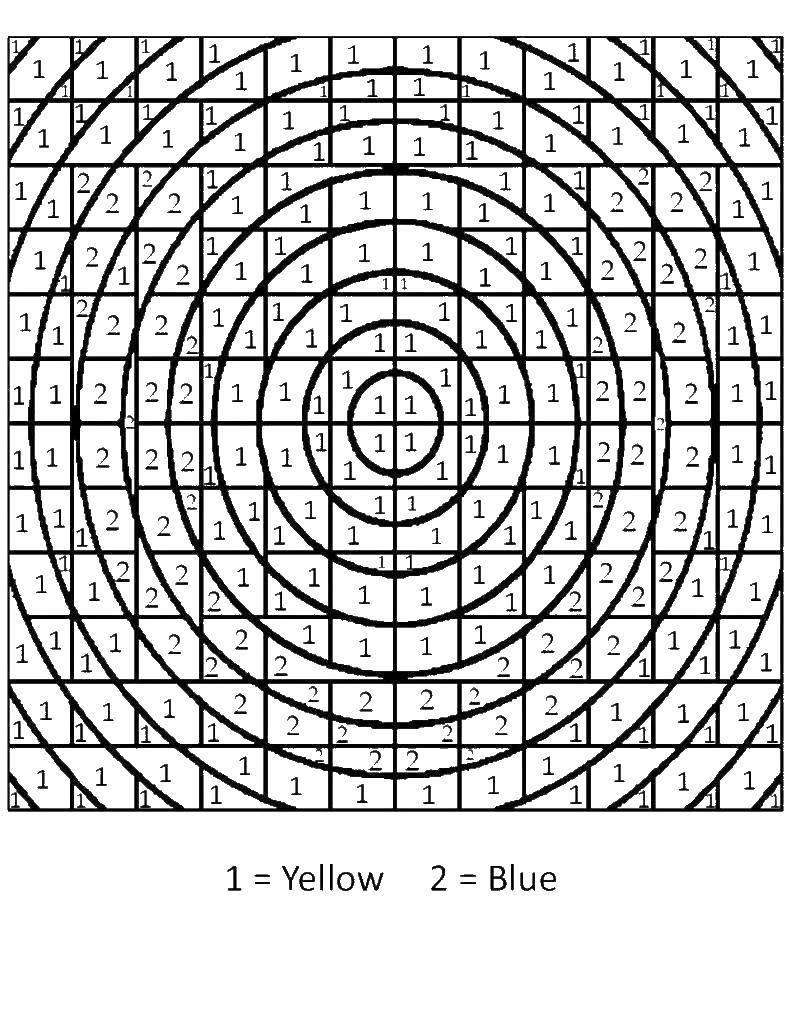 Раскраска Математическая раскраска круги Скачать ,математическая раскраска,.  Распечатать