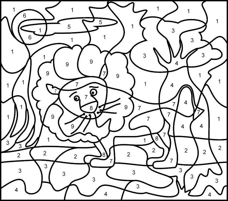 Раскраска Лев в ночи. Скачать математическая раскраска.  Распечатать ,математическая раскраска,