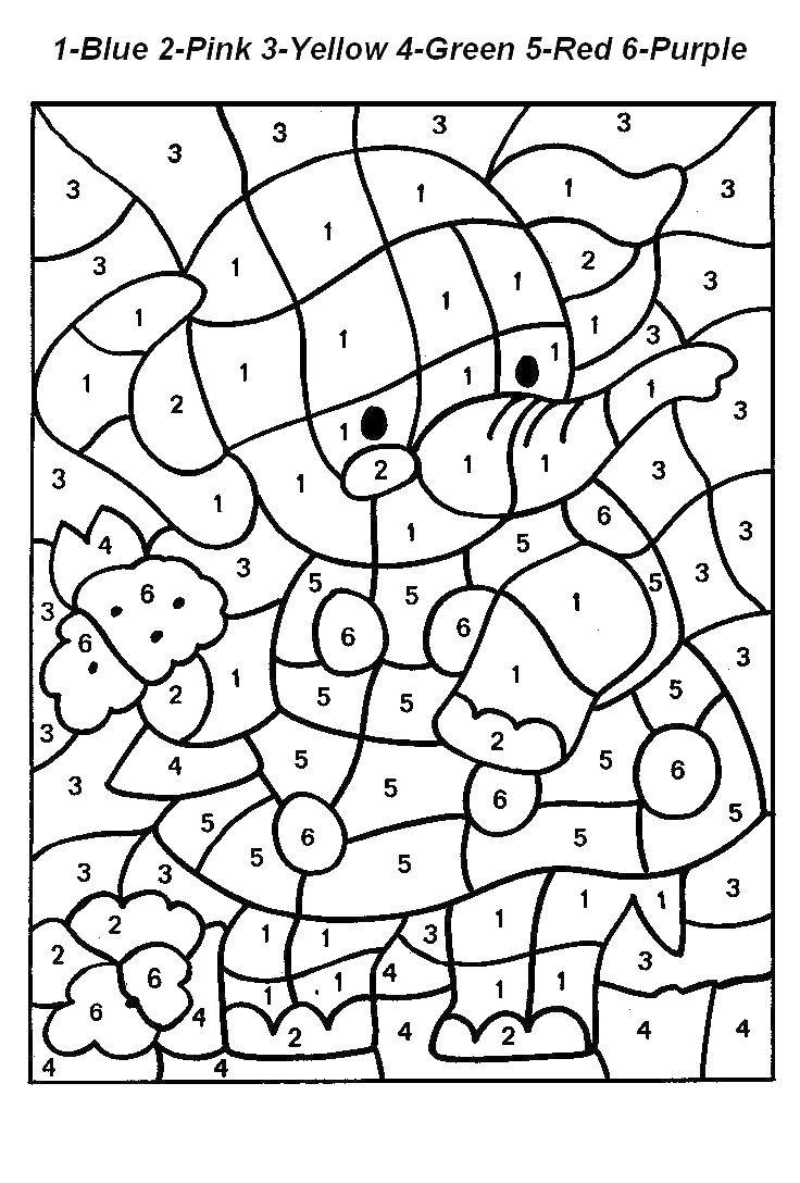 Раскраска Слоник с цветами Скачать ,математическая раскраска, слон,.  Распечатать