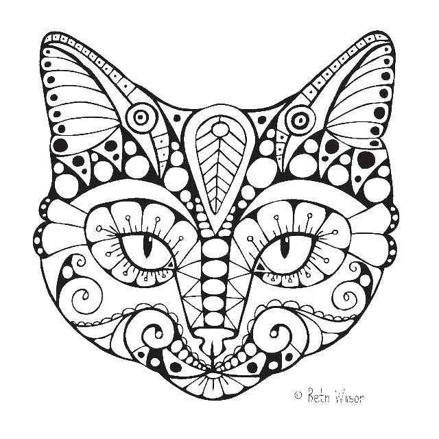 Раскраска Голова кошки Скачать голова, кошка, узоры.  Распечатать ,раскраски для подростков,