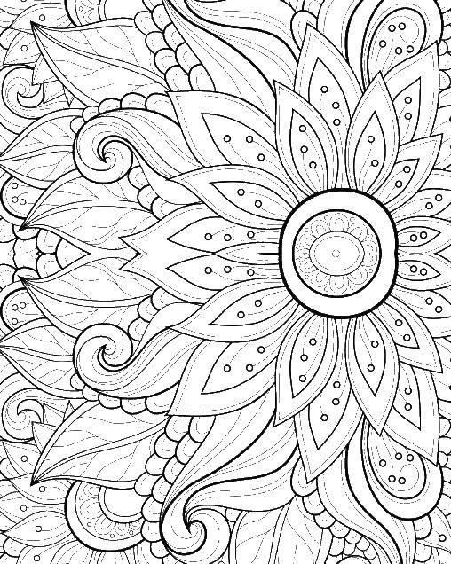 Раскраска Цветы орнамент Скачать орнамент, знаки, цветы.  Распечатать ,раскраски загадка,
