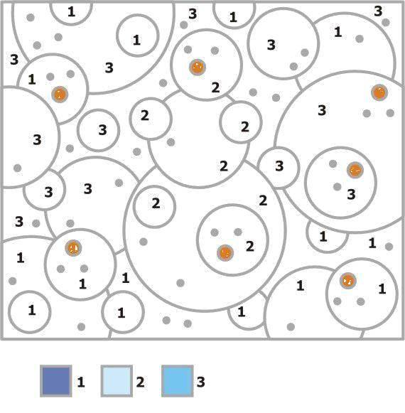 Раскраска Заполни кружочки по номерам Скачать круги, фигуры, номеры.  Распечатать ,раскраски по номерам,