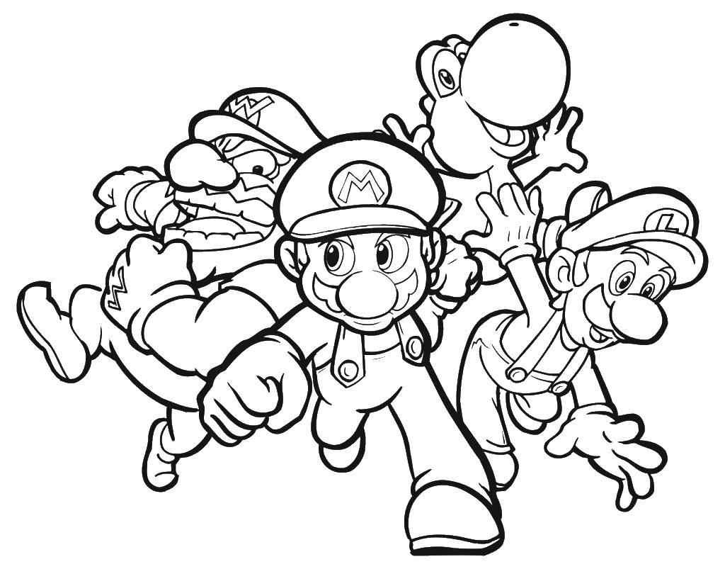 Раскраска Марио и его друзья. Скачать марио, кепка, друзья.  Распечатать ,марио,
