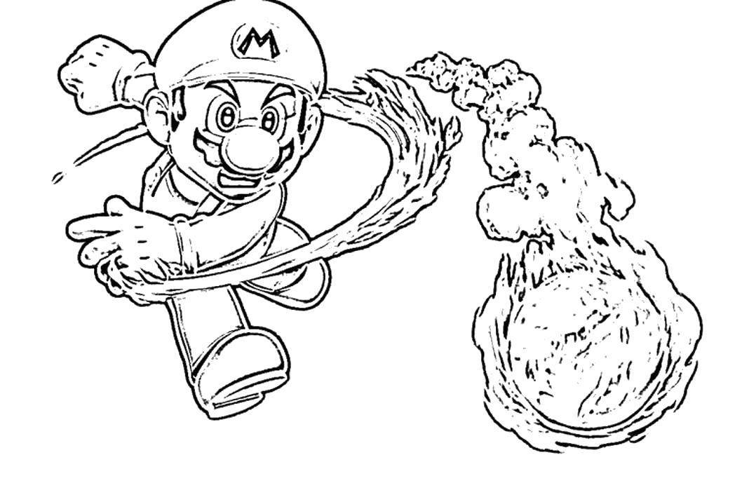 Раскраска Марио кинул горящий шар. Скачать Игры, Марио.  Распечатать ,Персонаж из игры,