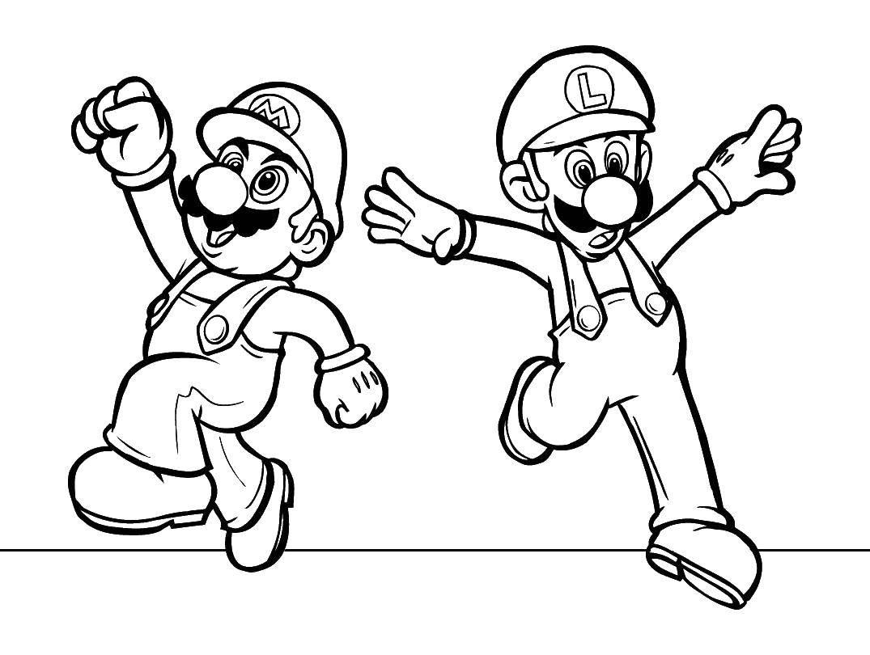 Раскраска Братья марио. Скачать Игры, Марио.  Распечатать ,Персонаж из игры,