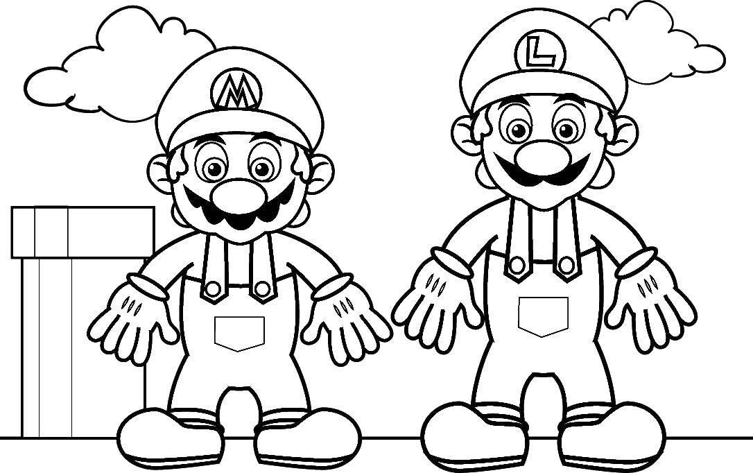 Раскраска Луиджи и марио. Скачать Игры, Марио.  Распечатать ,Персонаж из игры,