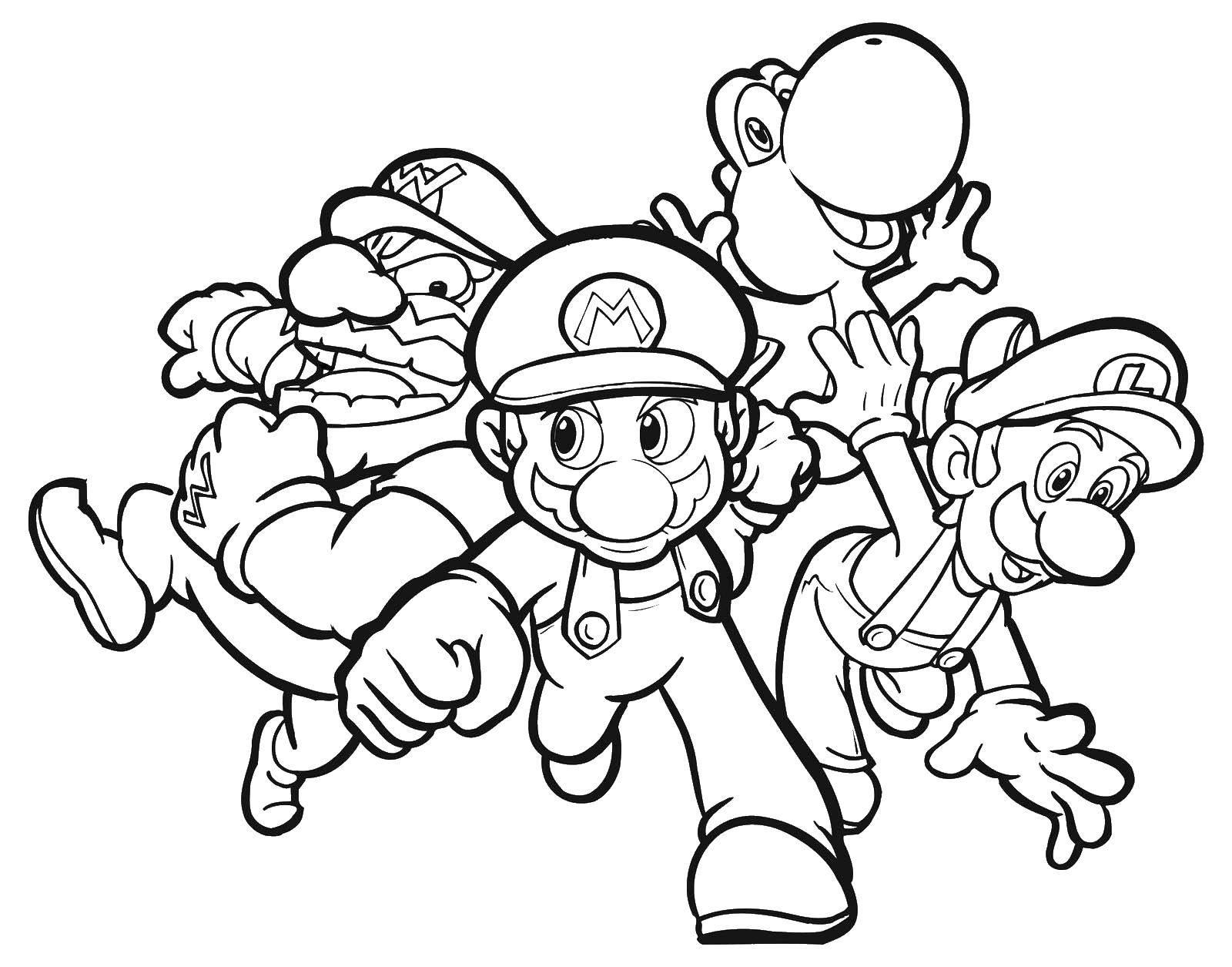 Раскраска Марио, варио, динозаврик и луиджи. Скачать Игры, Марио.  Распечатать ,Персонаж из игры,