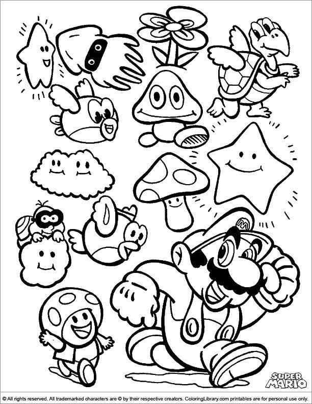 Раскраска Персонажи из игры марио . Скачать Игры, Марио.  Распечатать ,Персонаж из игры,