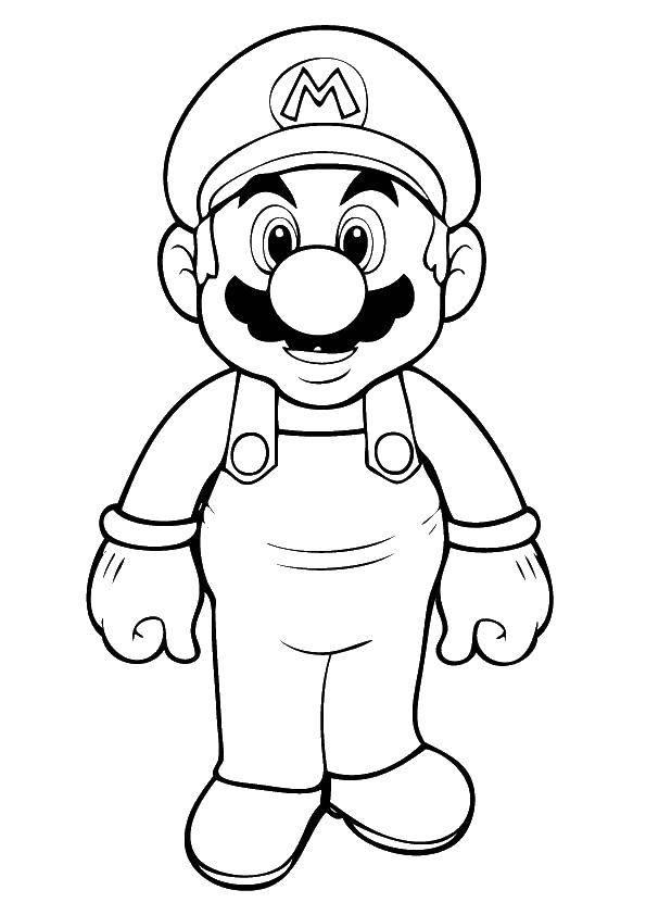 Раскраска Усатый марио. Скачать Игры, Марио.  Распечатать ,Персонаж из игры,