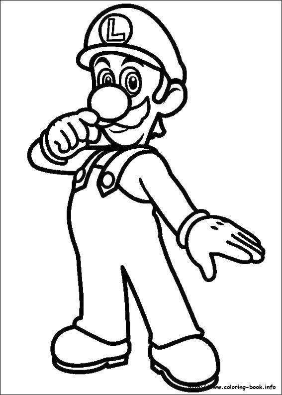 Раскраска Луиджи марио.. Скачать Игры, Марио.  Распечатать ,Персонаж из игры,