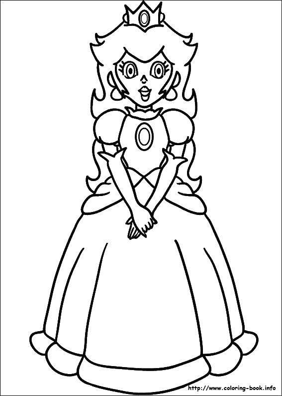 Раскраска Принцесса, которую спасает марио. Скачать Игры, Марио.  Распечатать ,Персонаж из игры,