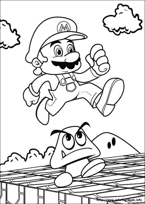 Раскраска Прыгающий марио. Скачать Игры, Марио.  Распечатать ,Персонаж из игры,