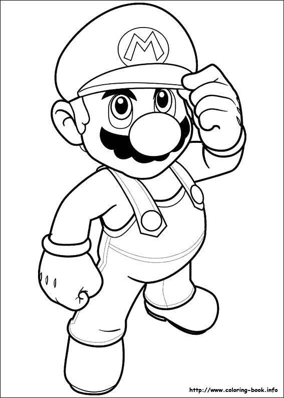Раскраска Сантехник марио. Скачать Игры, Марио.  Распечатать ,Персонаж из игры,