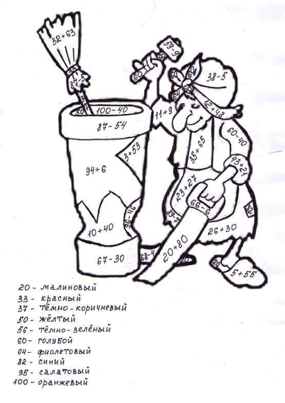 Раскраска Баба яга Скачать бабаяга, загадки.  Распечатать ,математические раскраски,