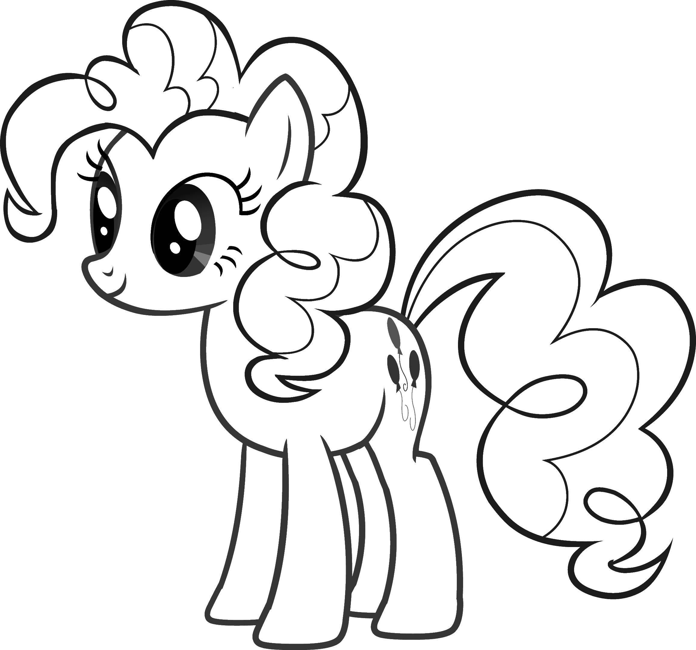 Раскраска Пони с красивой гривой и хвостом. Скачать пони, лошади, сказки.  Распечатать ,Пони,