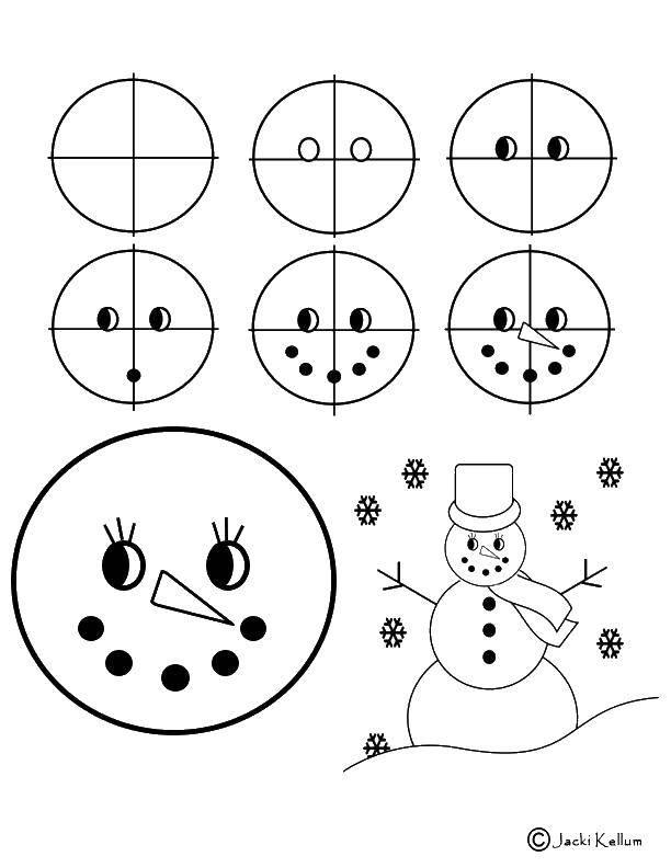 Раскраска Рисунки снеговика Скачать снеговик, шарф, шапка.  Распечатать ,как нарисовать пошагово,