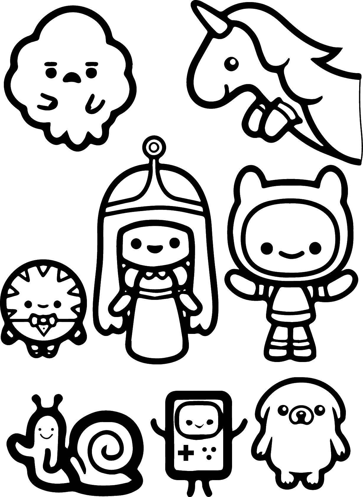Раскраска Герои времени приключений Скачать герои, мультфильмы, время приключений.  Распечатать ,время приключений,
