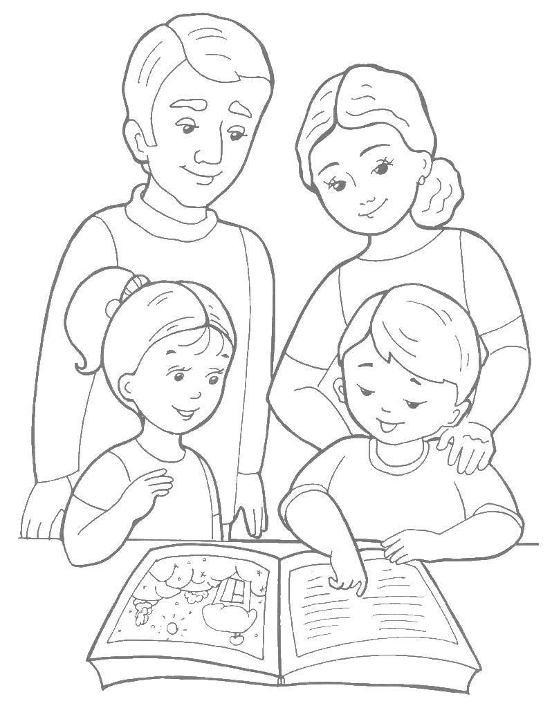Раскраска моя семья из 4 человек Скачать ,сын,дочка,отец,мать,.  Распечатать