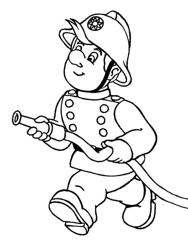 Раскраска Пожарный бежит Скачать Профессии.  Распечатать ,профессии,