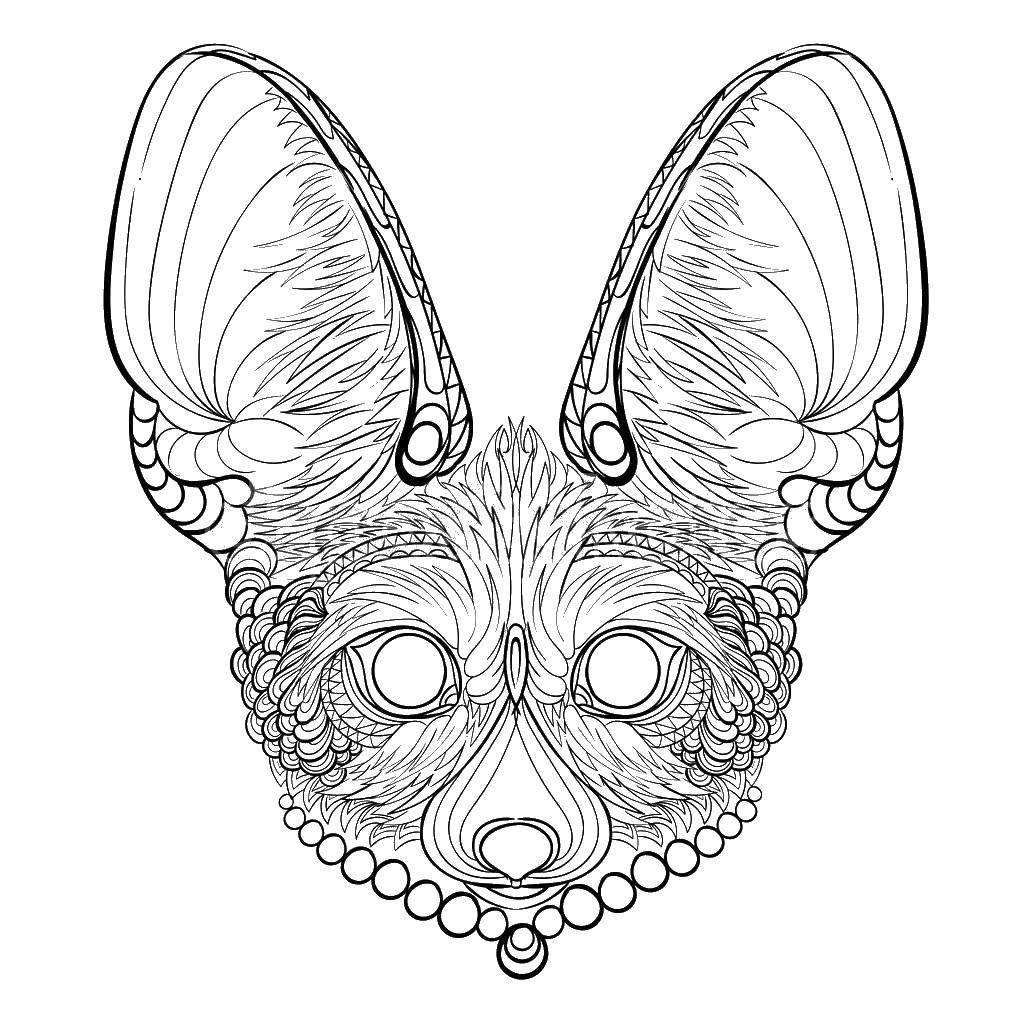 Раскраска Маска лиса. Скачать маска, лиса.  Распечатать ,маска,