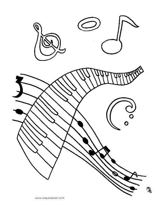 Раскраска Ноты и музыка Скачать пианино, ноты, музыка.  Распечатать ,Музыка,