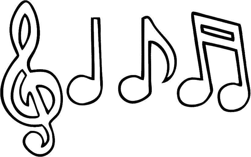 Раскраска музыка Скачать ,ноты, музыка,.  Распечатать
