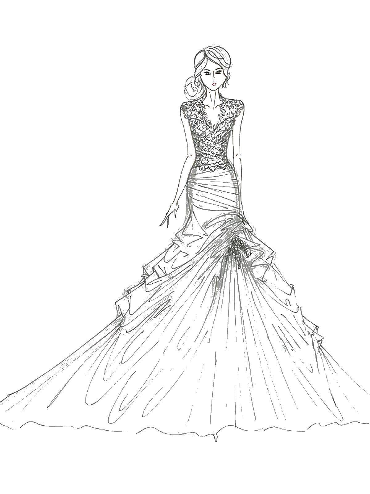 Раскраска Девушка в платье с пышным низом Скачать ,платья, девушка, пышное платье,.  Распечатать