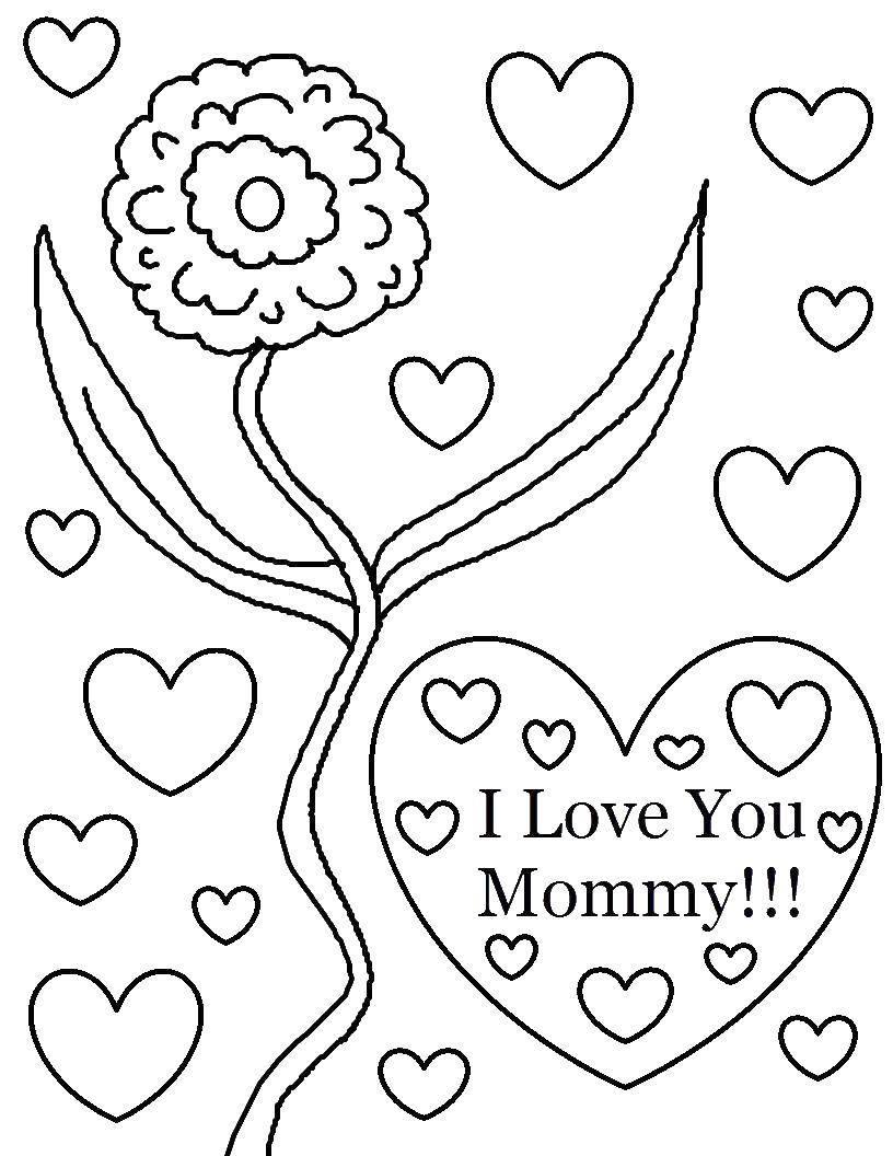 Раскраска Цветок для мамы Скачать цветы, мама.  Распечатать ,Я тебя люблю,