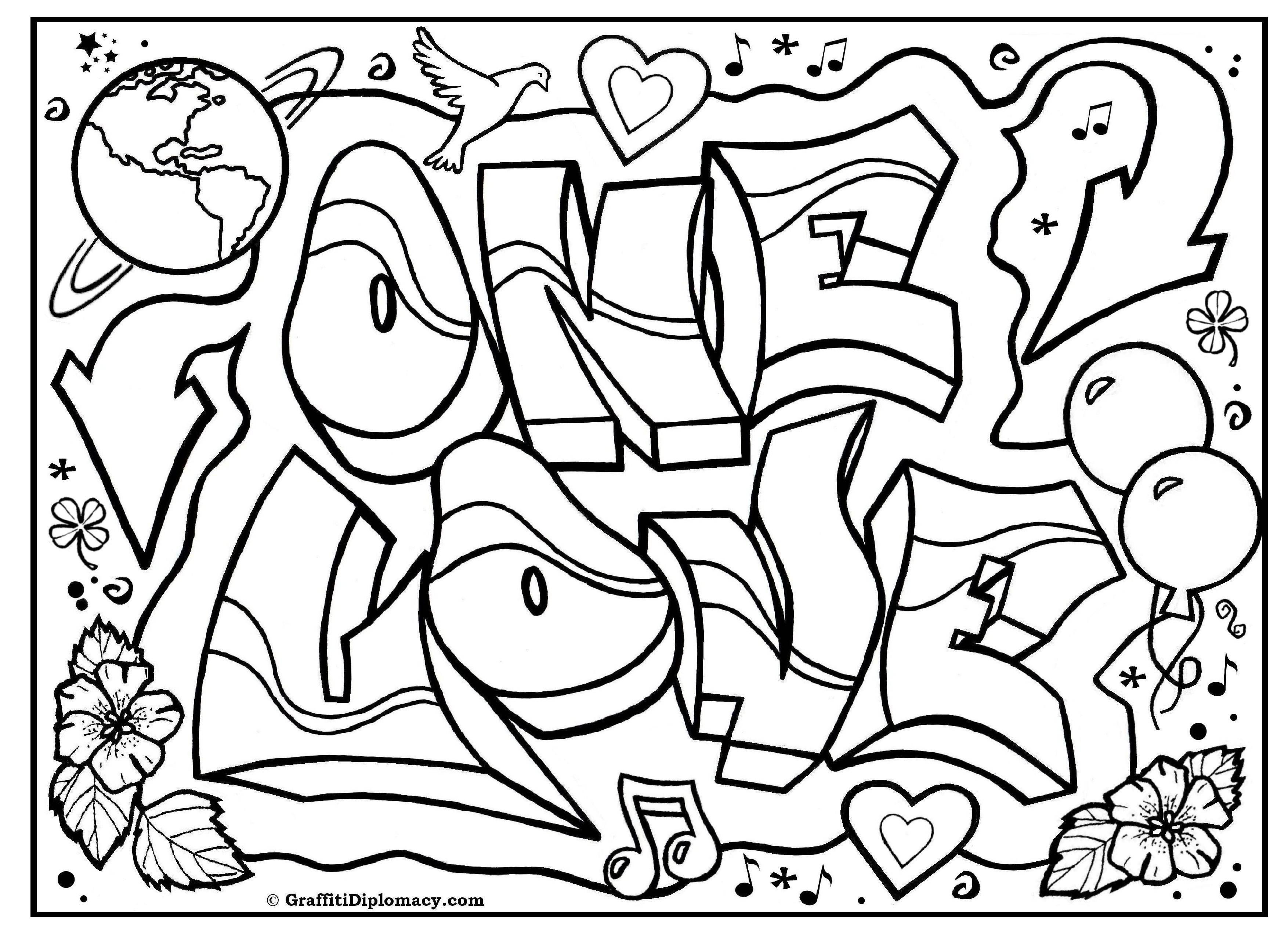Раскраска Одна любовь Скачать Надписи, узоры.  Распечатать ,раскраски,