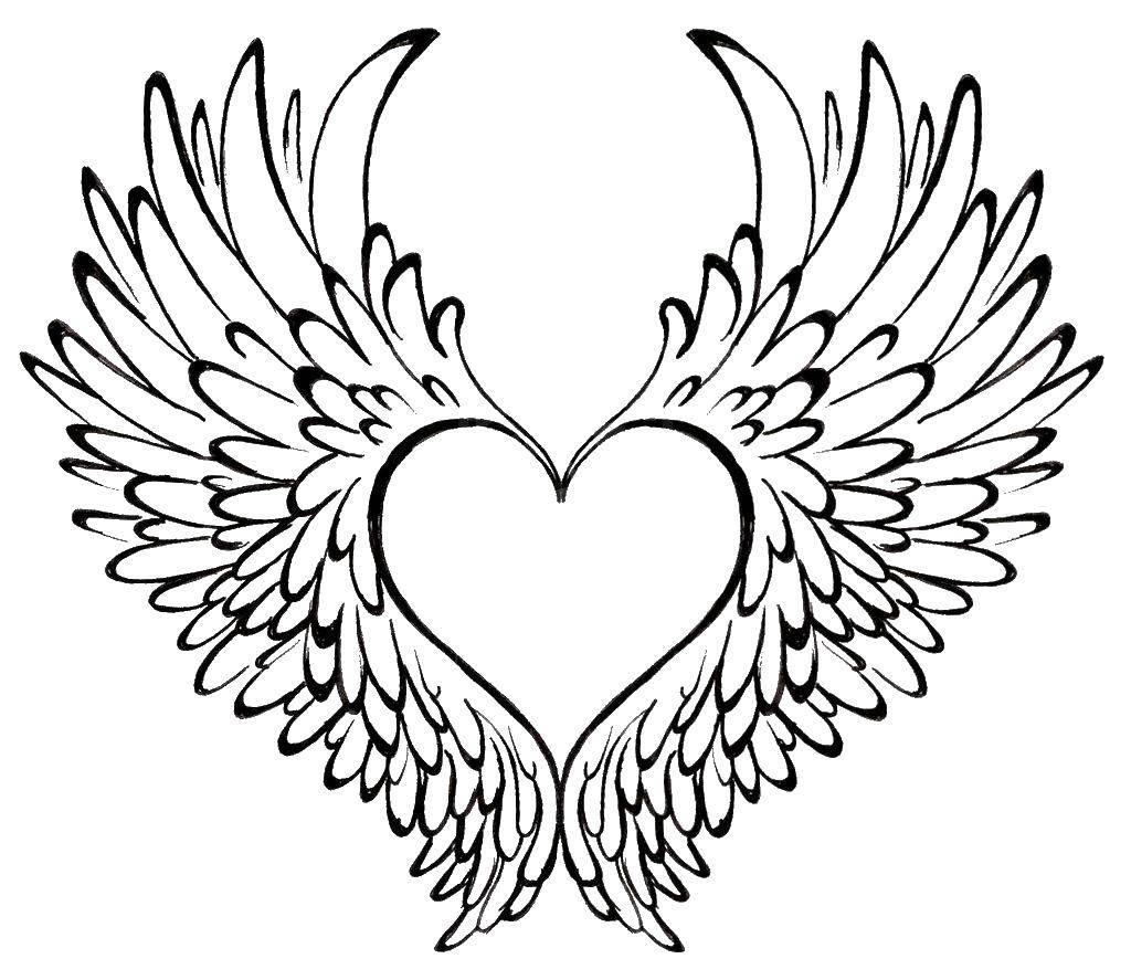 Раскраска Крылья сердце Скачать крылья, сердце.  Распечатать ,Я тебя люблю,