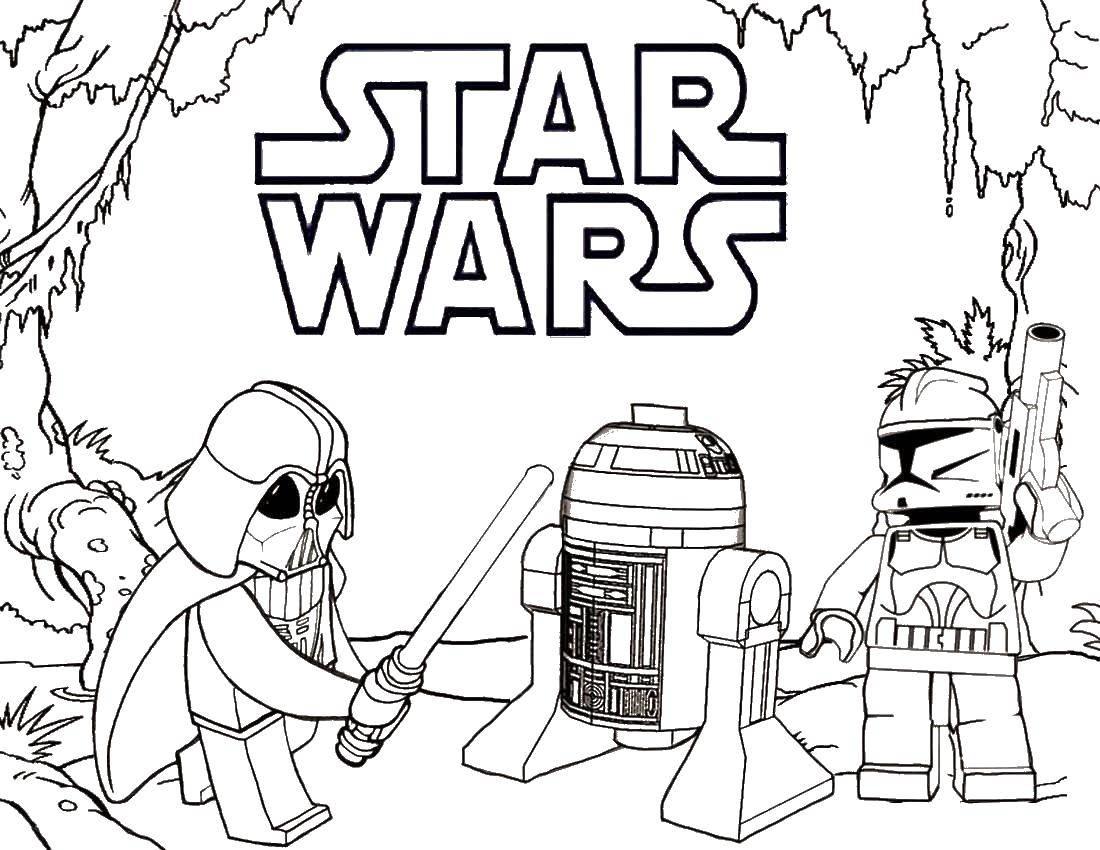 Раскраска Фильм звездные войны лего Скачать лего, конструктор, звездные войны.  Распечатать ,Лего,