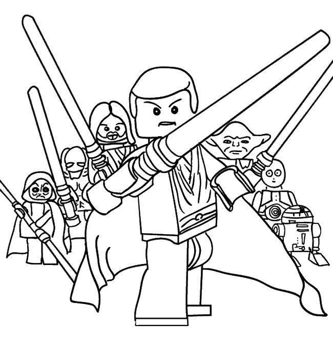 Раскраска Лего звездные воины джедаи Скачать лего, звездные воины.  Распечатать ,Лего,