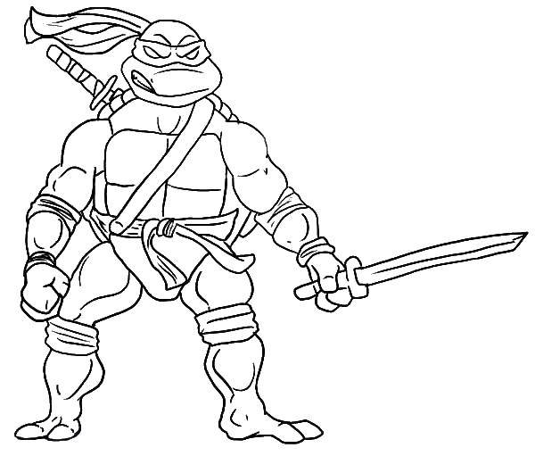 Free Leonardo Ninja Turtle Coloring Page, Download Free Clip Art ... | 511x600