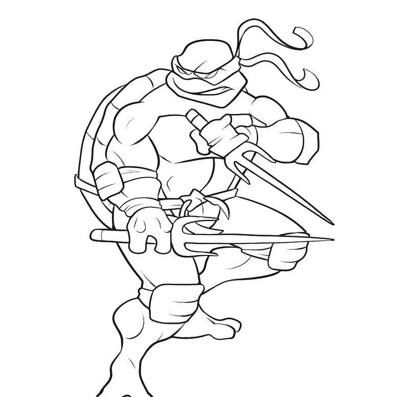 Раскраска Рафаэль с ножами Скачать Комиксы, Черепашки Ниндзя.  Распечатать ,черепашки ниндзя,