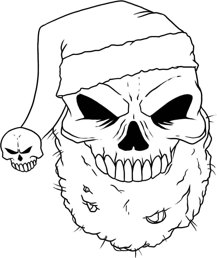 Раскраска Череп в шапке санты и бородой Скачать череп, череп санта.  Распечатать ,Череп,