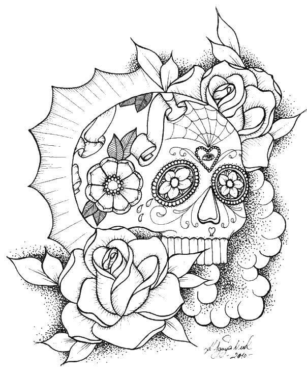 Раскраска череп Скачать цветы, бутоны.  Распечатать ,Цветы,