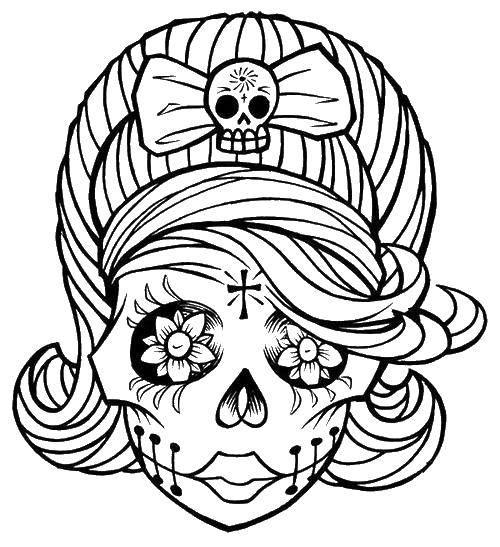 раскраски бантиком раскраска череп девочка с бантиком череп
