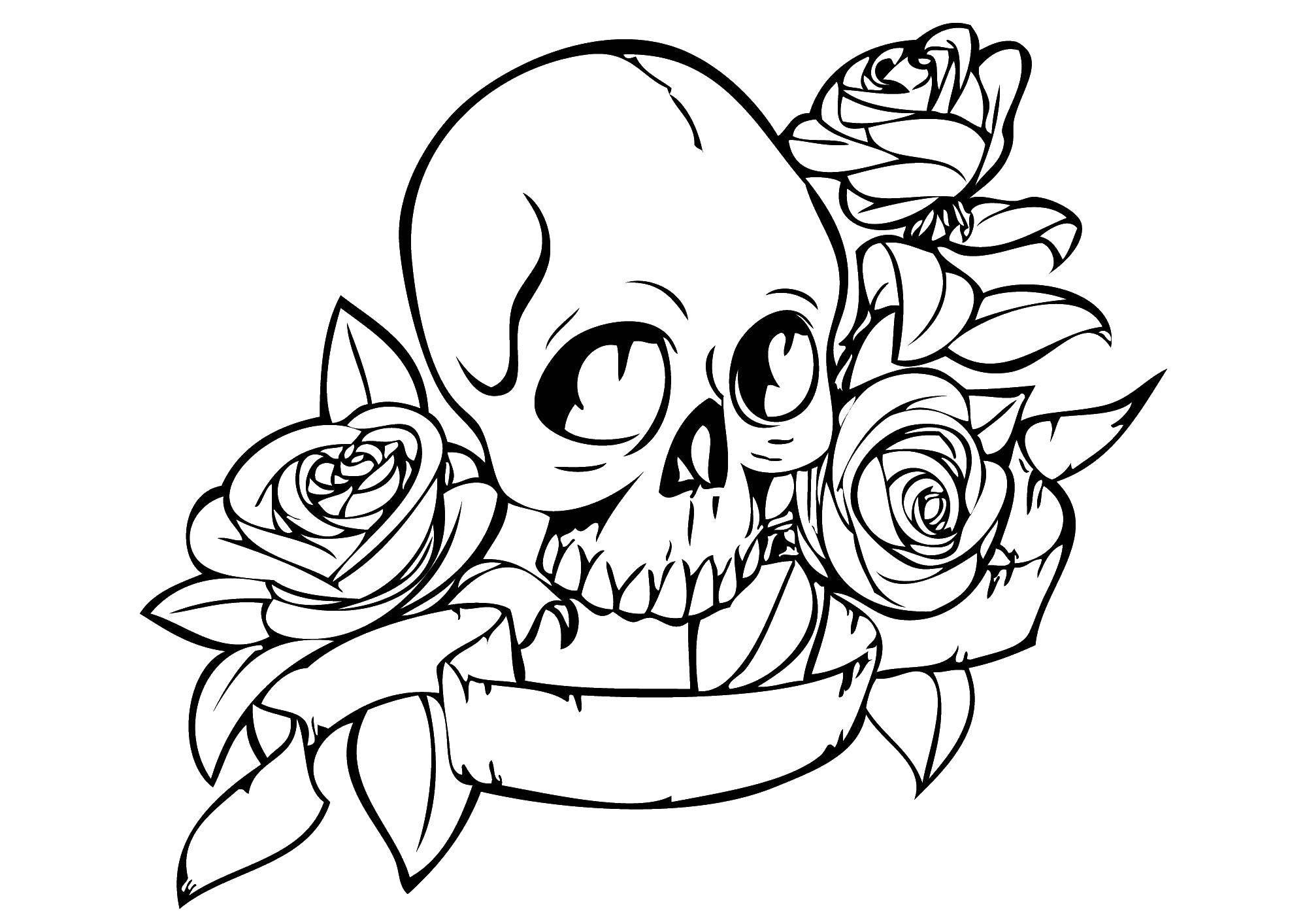 раскраски раскраска череп в розах скачать распечатать