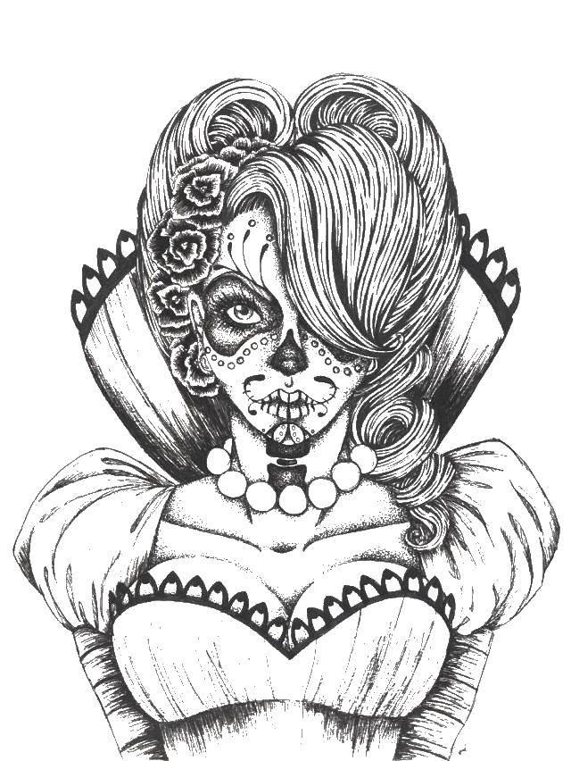 Раскраска Девушка на день мертвых. Скачать девушка, день мертвых.  Распечатать ,праздники,
