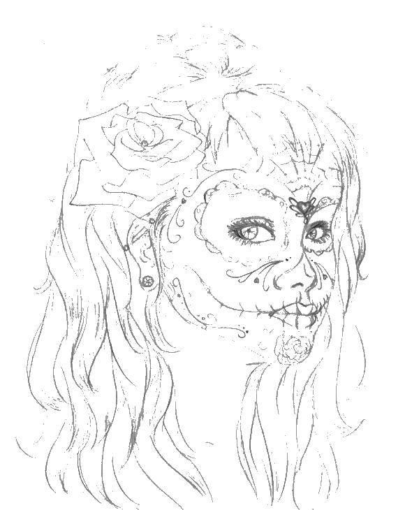 Раскраска Девушка с раскрашенным лицом. Скачать девушка, день мертвых.  Распечатать ,праздники,