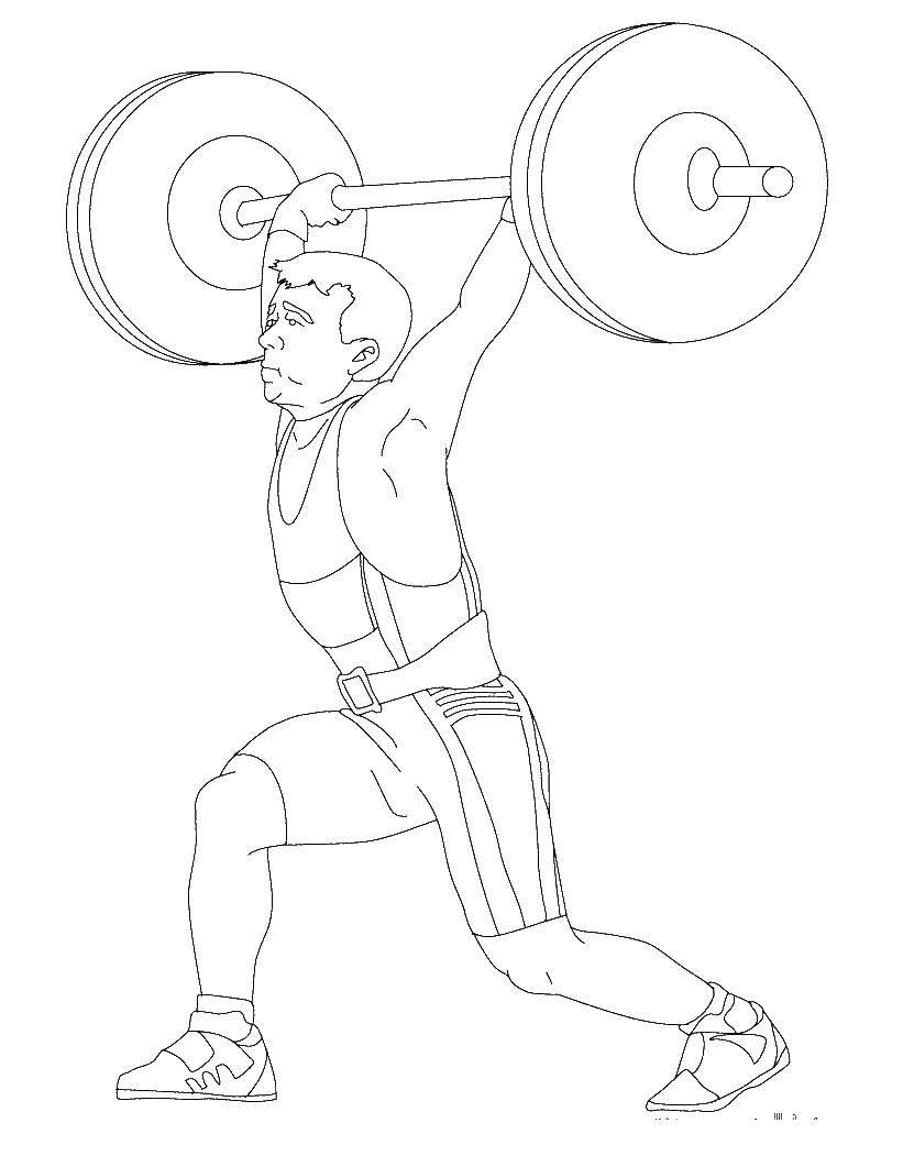 раскраски раскраска спортсмен поднял штангу спорт раскраски