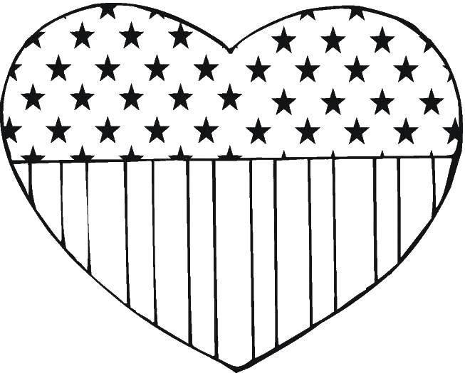 Раскраска Флаг америки в сердечке Скачать флаг, знак.  Распечатать ,США,